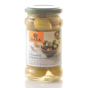 Gaea Organic Green Olives With Garlic 295G