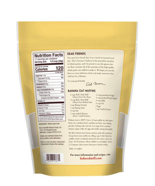 Gf Oat Flour Whole Grain 18 Oz