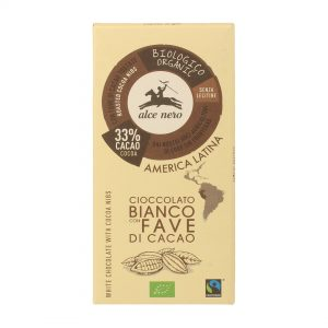 Alce Nero CB100FA Organic GF White chocolate with Cacao nibs 100 g