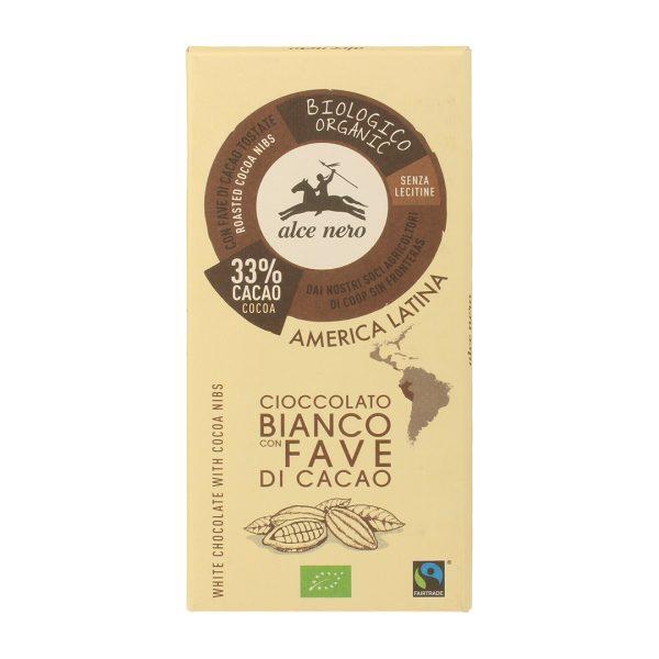 Alce Nero CB100FA Organic GF White chocolate with Cacao nibs 100 g