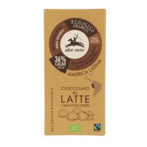 Alce Nero CN100 Organic GF Latte Milk Chocolate with hazelnuts 100 g