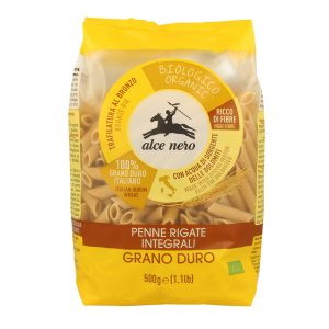 Alce Nero PI612 Penne Rigate Organic whole wheat durum semolina pasta 500g
