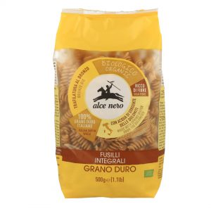 Alce Nero PI614 Organic Fusilli whole wheat durum semolina Pasta 500g