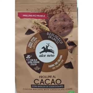 Alce Nero FR249 Frollini Organic Cacao Biscuits with Chocolate Chips 250 g