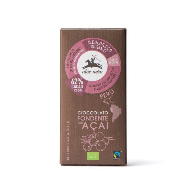 Alce Nero CFA050 Organic dark chocolate with Acai berries 50g