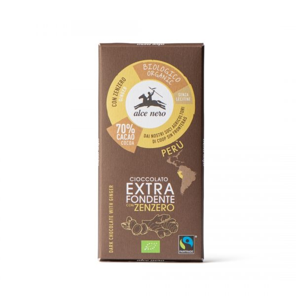 Alce Nero CFZ050 Organic Extra dark chocolate with ginger 50g