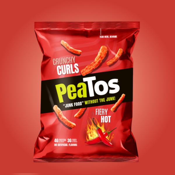 PeaTos GF Vegan Fiery Hot Crunchy Curls 28g