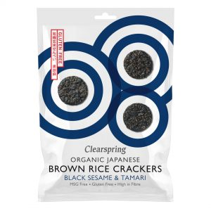 Clear Spring GF Organic Japanese Brown Rice Crackers Whole Sesame 40g